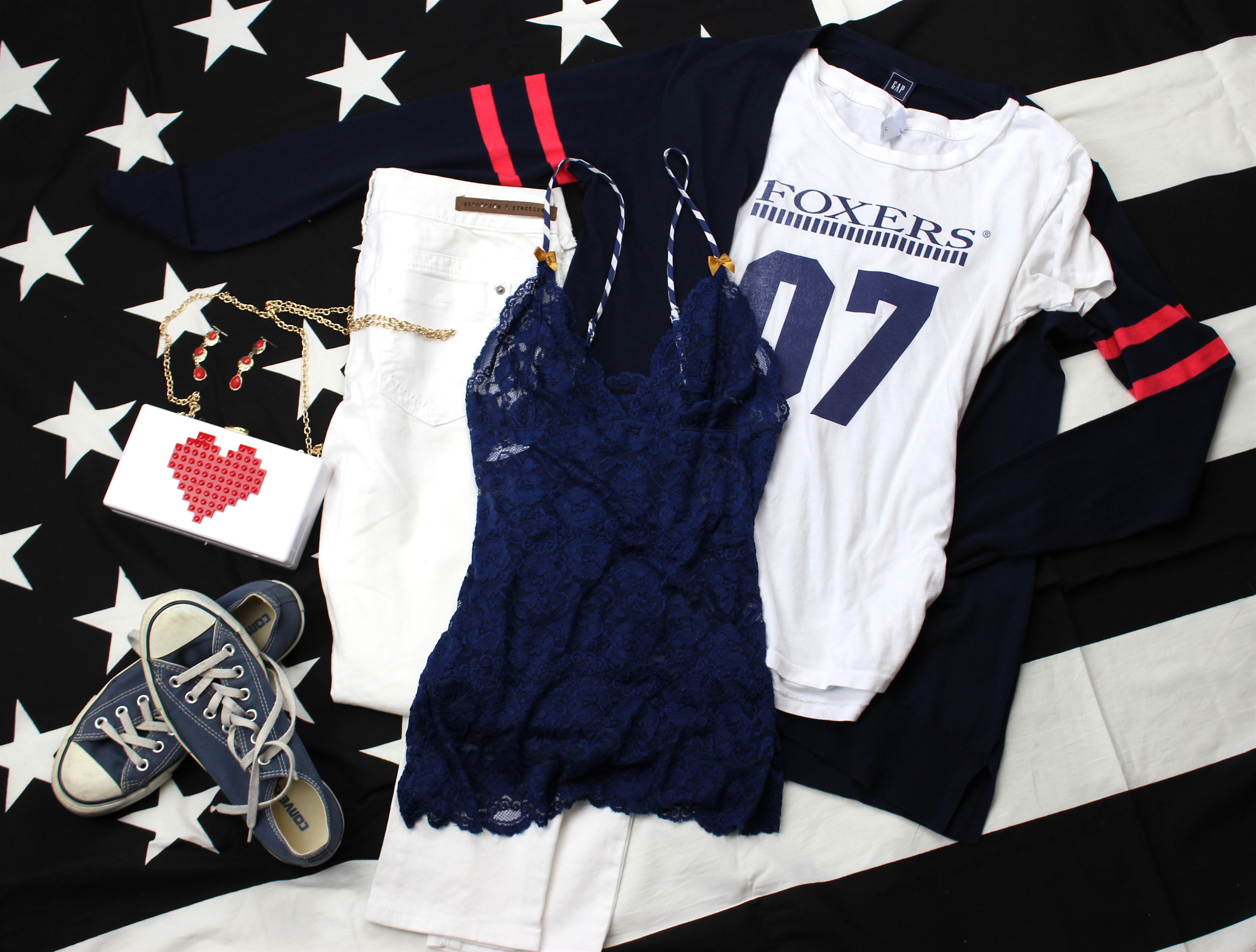 07 Foxers tee and navy lace camisole