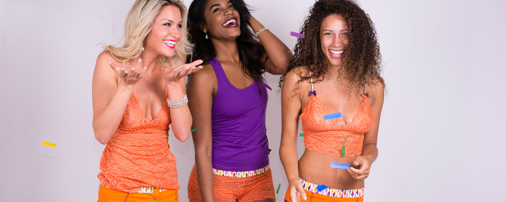Orange and Purple Women's Underwear and Tops with a confetti print Waistband or strap fabric.