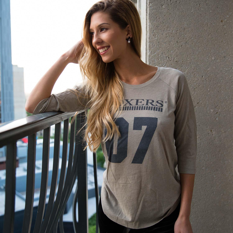 Amy Lou in Foxers Desert Sand Womens Baseball Shirt