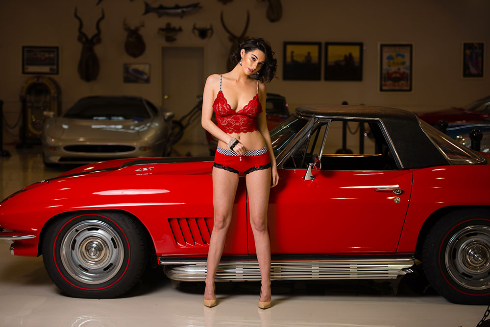 Stephy May in our Red checkers boyshorts in front of a Corvette.jpg