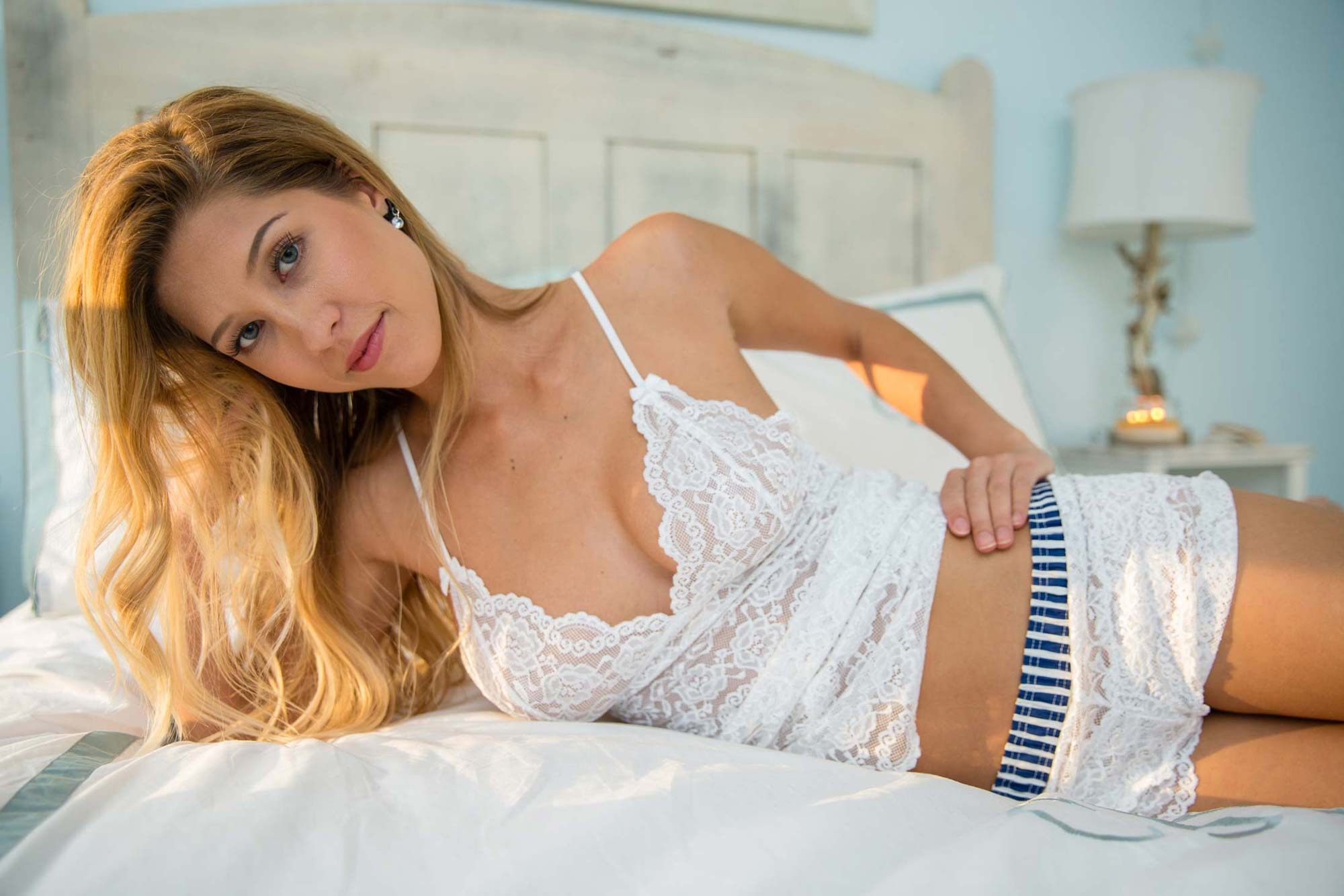 Amy Lou in Foxers Navy/White Striped Lace boxers and all white lace camisole.
