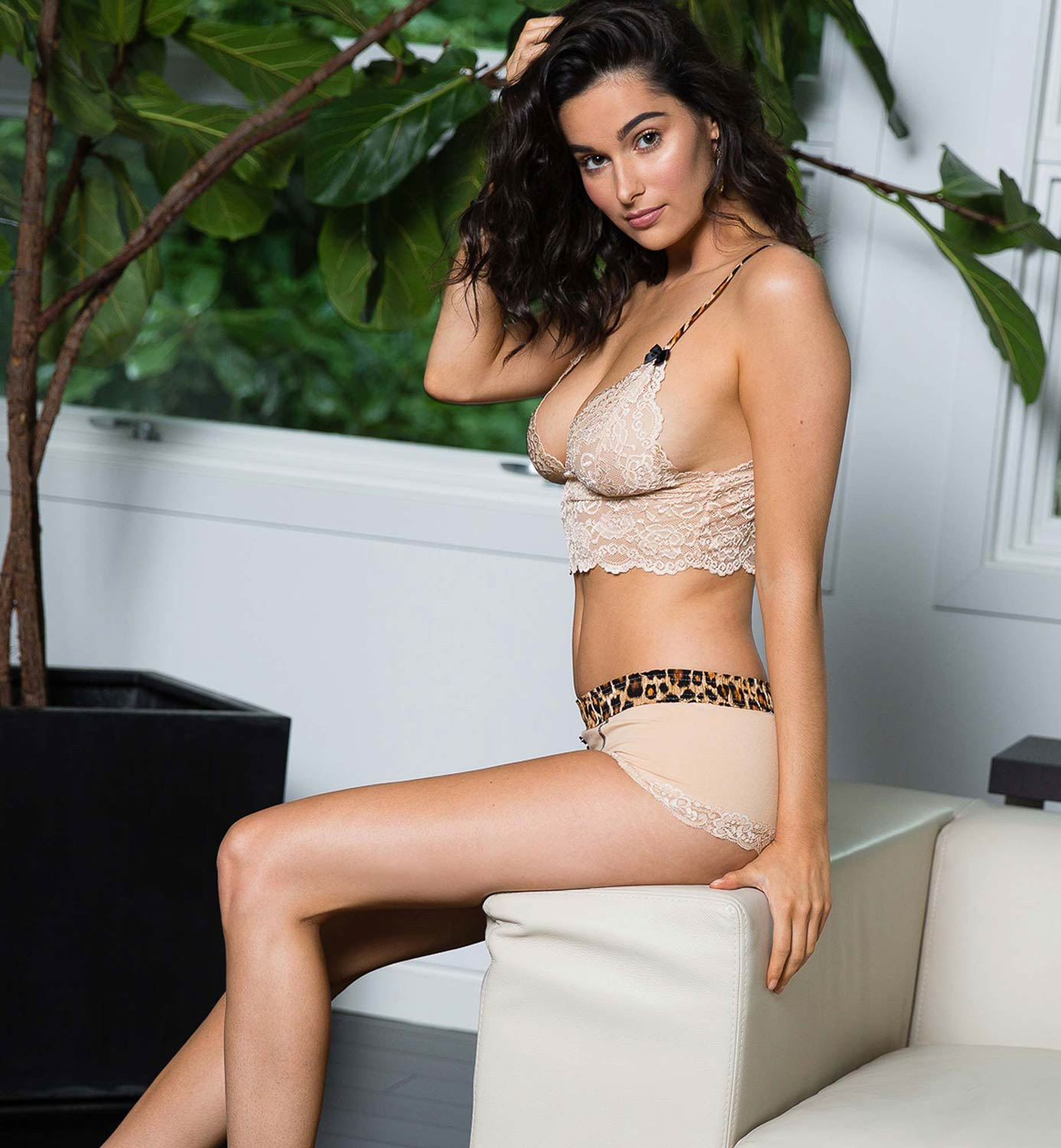 Stephy in Nude Lace Boxers with Leopard Waistband and matching Lace Bralette